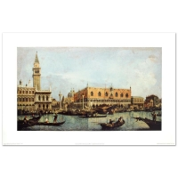 """""""Canal of San Marco with the Piazza San Marco"""" 23x35 Fine Art Print by Canaletto"""