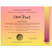"""Chuck Jones Signed """"Pewlitzer Prize"""" Sold Out Limited Edition 10x12 Animation Cel at PristineAuction.com"""