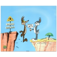 "Chuck Jones ""Coyote Crossing"" Signed Limited Edition 9x9 Animation Cel with Hand Painted Color at PristineAuction.com"