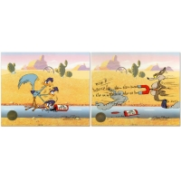 "Chuck Jones Signed ""Road Runner and Coyote: Acme Birdseed"" Limited Edition 10x12 Animation Cel at PristineAuction.com"