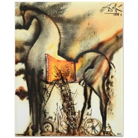 "Salvador Dali ""Trojan Horse"" Sold Out Limited Edition 8x10 Glazed Ceramic Tile"