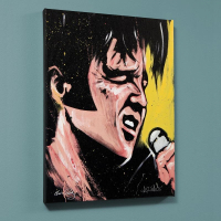 """David Garibald Signed """"Elvis Presley (68 Special)"""" LE 30x40 Giclee on Canvas"""