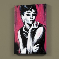 "David Garibaldi Signed ""Audrey Hepburn (Fabulous)"" LE 30x40 Giclee on Canvas"