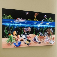"""Michael Godard Signed """"Sand Bar"""" Limited Edition 45x28 Hand-Embellished Giclee on Canvas"""