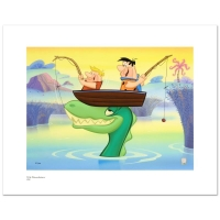 """Fred and Barney Fishing"" LE 20x16 Giclee from Hanna-Barbera"