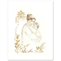 """Edna Hibel Signed """"Lei Jeigiong and her Baby in the Garden of Yun-Tai"""" Limited Edition 20x26 Lithograph at PristineAuction.com"""
