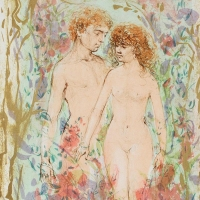 """Edna Hibe Signed """"The First Couple"""" Limited Edition 18x22 Lithograph at PristineAuction.com"""