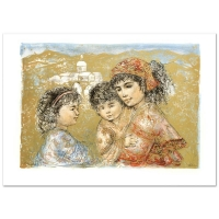 """Edna Hibel Signed """"Zalina with Aries and Ande"""" Limited Edition 25x35 Lithograph at PristineAuction.com"""