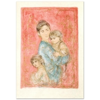 """Edna Hibel Signed """"Sonya and Family"""" Limited Edition 25x36 Lithograph at PristineAuction.com"""