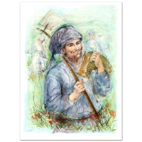 """Edna Hibel Signed """"Man with Hoe"""" Limited Edition 28x39 Lithograph at PristineAuction.com"""