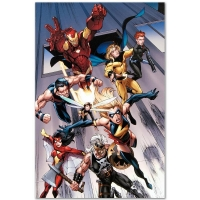 """""""The Mighty Avengers #7"""" Limited Edition 18x27 Giclee on Canvas by Mark Bagley & Marvel Comics at PristineAuction.com"""
