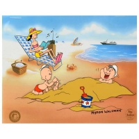 "Myron Waldman Signed ""A Day At The Beach"" Limited Edition 12x14 Hand Inked and Painted Animation Cel"