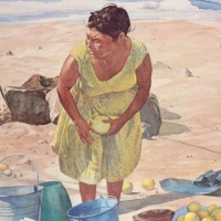 """William Nelson Signed """"Mexican Fruit Vendor"""" Limited Edition 22x28 Serigraph at PristineAuction.com"""