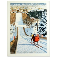 "William Nelson Signed ""90-Meter Ski Jump"" Limited Edition 22x29 Serigraph"