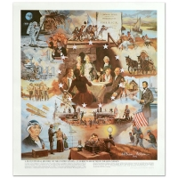 """William Nelson Signed """"Centennial History of U.S."""" 18x21 Lithograph"""