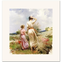 "Pino ""Tuscan Stroll"" Signed Limited Edition 12x12 Giclee on Canvas"