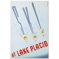 """""""Ski at Lake Placid"""" Hand Pulled 20x31 Lithograph by the RE Society at PristineAuction.com"""