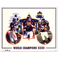 "Daniel M. Smith Signed ""World Champion XXXII (Broncos)"" Limited Edition 19x24 Lithograph"