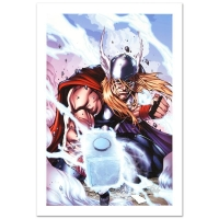 """Stan Lee Signed """"Thor: Heaven and Earth #3"""" Limited Edition 18x27 Giclee on Canvas by Agustin Padilla and Marvel Comics"""