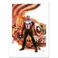 "Stan Lee Signed ""Captain America #41"" Limited Edition 18x27 Giclee on Canvas by Steve Epting and Marvel Comics"