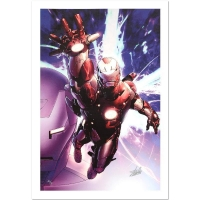 "Stan Lee Signed ""Invincible Iron Man #25"" LE 18"" x 27"" Giclee on Canvas by Salvador Larroca & Marvel Comics"