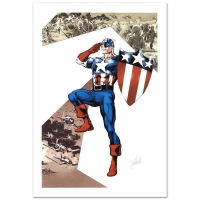"""Stan Lee Signed """"Captain America Corps #2"""" Limited Edition 18x27 Giclee on Canvas by Phil Jimenez and Marvel Comics"""
