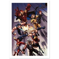 """Stan Lee Signed """"The Mighty Avengers #7"""" Limited Edition 18x27 Giclee on Canvas by Mark Bagley & Marvel Comics"""
