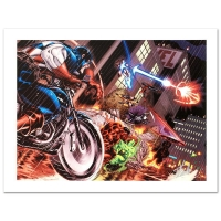 "Stan Lee Signed ""Avengers: X-Sanction #1"" Limited Edition 27x18 Giclee on Canvas by Ed McGuinness & Marvel Comics"