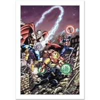 "Stan Lee Signed ""Avengers #21"" Limited Edition 18x27 Giclee on Canvas by George Perez & Marvel Comics"