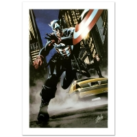 "Stan Lee Signed ""Captain America #34"" Limited Edition 18x27 Giclee on Canvas by Steve Epting and Marvel Comics"
