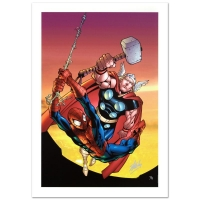 """Stan Lee Signed """"Marvel Age Spider-Man Team Up #4"""" Limited Edition 18x27 Giclee on Canvas by Randy Green & Marvel Comics"""