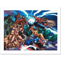 "Stan Lee & J. Scott Campbell Signed ""Marvel Comics Presents #1"" Limited Edition 18x24 Giclee on Canvas by Marvel Comics"