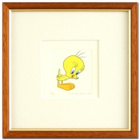 """1999 """"Tweety"""" LE 8x8 Custom Framed Etching with Hand-Tinted Color"""