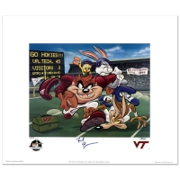 "Frank Beamer Signed ""Virginia Tech - Frank Beamer"" Limited Edition 19x22 Lithograph from Warner Bros."