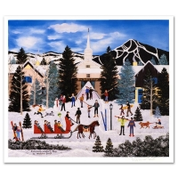 """Jane Wooster Scott Signed """"Embracing Winter's Joys"""" Limited Edition 13x15 Lithograph"""