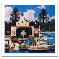 "Jane Wooster Scott Signed ""Salem Shipyard"" Limited Edition 13x13 Lithograph at PristineAuction.com"