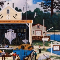 """Jane Wooster Scott Signed """"Salem Shipyard"""" Limited Edition 13x13 Lithograph at PristineAuction.com"""