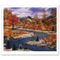 "Jane Wooster Scott Signed ""Trail Creek Autumn"" Limited Edition 14x11 Lithograph"