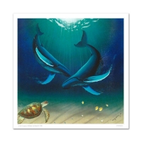"Wyland Signed ""In the Company of Whales"" Limited Edition 30x30 Giclee on Canvas at PristineAuction.com"