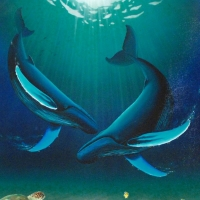 """Wyland Signed """"In the Company of Whales"""" Limited Edition 30x30 Giclee on Canvas at PristineAuction.com"""