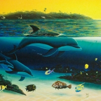 """Wyland """"Warm Tropical Waters"""" Signed Limited Edition 26x43 Giclee on Canvas at PristineAuction.com"""