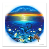 """Wyland """"Sea of Life"""" Signed Limited Edition 27x27 Giclee on Canvas at PristineAuction.com"""