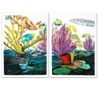 "Wyland Signed ""Coral Reef Life"" Limited Edition Giclee Diptych on Canvas at PristineAuction.com"