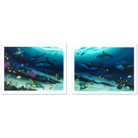 "Wyland Signed ""Radiant Reef"" Limited Edition 26x35 Giclee Diptych on Canvas at PristineAuction.com"