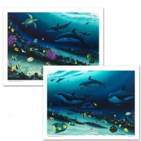 "Wyland Signed ""Radiant Reef"" Limited Edition 26x36 Giclee Diptych on Canvas"