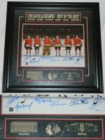 "Multi-Signed Blackhawks ""Best of the Best"" 28x30 Framed Photo Display with (6) Signatures Including Patrick Kane, Jonathan Toews, Bobby Hull, Tony Esposito, Stan Mikita & Denis Savard (Frameworth COA)"