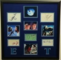 """Multi-Signed """"E.T."""" 26x26 Custom Framed Display Signed by (5) With Drew Barrymore, Dee Wallace Stone, Henry Thomas, Matthew DeMeritt & Steven Spielberg (JSA LOA)"""