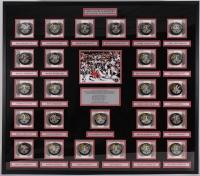 Multi-Signed 2013 Blackhawks Stanley Cup Champions 42x47 Custom Framed Hockey Puck Shadowbox Display with (25) Signatures Including Joel Quenneville, Jonathan Toews, Andrew Shaw, Patrick Kane, Marian Hossa, Bryan Bickell (JSA ALOA)