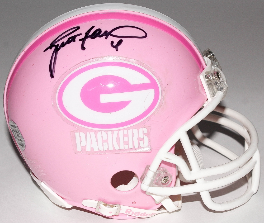 b1d9c0ec9 Brett Favre Signed Packers Breast Cancer Awareness Mini-Helmet (Favre COA)  at PristineAuction
