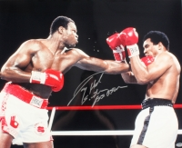 "Larry Holmes Signed 16x20 Photo vs. Muhammad Ali Inscribed ""Easton Assassin"" (Schwartz COA)"